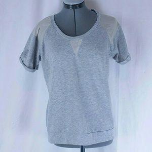 Zara Trafaluc Large Gray Top Shirt Blouse 2-toned